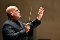 Dallas Symphony Orchestra conductor Jaap Van Zweden led the DSO during a performance of Mahler's Symphony No. 5 in C-sharp minor during the opening weekend of the DSO at the Meyerson Symphony Center last September.(Ben Torres/Special Contributor)