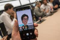 Attendees created AR Emojis on the new Samsung Galaxy S9 at the Mobile World Congress 2018 in Barcelona.(Robert Marquardt/Getty Images)
