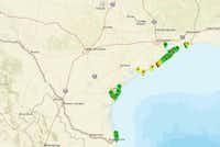 Green indicates low levels of fecal bacteria, while yellow means medium and red means high on a map provided by Texas Beach Watch.(Texas Beach Watch)