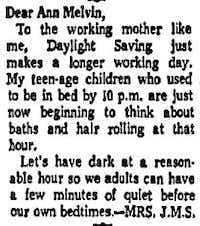 Letter from a reader responding to Melvin's original column about daylight saving time published in the Aug. 18, 1967 edition of <i>The Dallas Morning News</i>