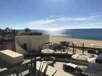 Cabos San Lucas promotes itself as a tourist destination for the affluent with high-end hotels, like The Resort at Pedregal, with views into the sea. (Alfredo Corchado/Staff)