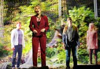 Jonathan McGovern (as Simon Vines), Miah Persson (as Iris Marinus), Roderick Williams (as Toby Kramer) and Kate Miller-Heidke (as Amber Jacquemain) in the Dallas Opera's   production of Michel van der Aa's <i>Sunken Garden.</i>(Jason Janik/Special Contributor)
