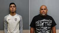 Diego Hernandez, 18, and Daniel Aguilar Pierce, 43, were both charged with assault.<br>(Carrollton Police Department<br>/Carrollton Police Department mug shots<br>)