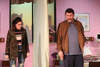 Janielle Kastner as Karla and Thomas Ward as Don in the regional premiere of Halley Feiffer's <i>A Funny Thing Happened on the Way to the Gynecologic Oncology Unit at Memorial Sloan Kettering Cancer Center of New York City</i>at Stage West Theatre in Fort Worth.(Khampha Bouaphanh)