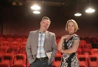 Executive producer Dana Schultes and managing director Mark Shum at Stage West Theatre in Fort Worth(Khampha Bouaphanh)