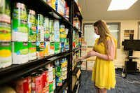 Ashlee Taylor, president of the graduate student advisory council and a Ph.D. student in nutritional sciences at Texas Tech University, organizes the Wreck Hunger graduate and international student food pantry in Lubbock.