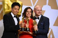 Kazuhiro Tsuji (from left) Lucy Sibbick and David Malinowski won the Academy Award for best makeup and hairstyling at the Oscars on March 4. (Jordan Strauss/Invision/AP)
