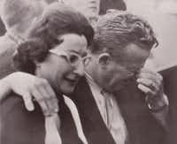 Mrs. Eileen Kaminsky of Detroit and her brother Earl Ruby weep in a Dallas courtroom today after hearing the verdict that their brother, Jack Ruby, was found guilty of the murder of Lee Harvey Oswald and sentenced to die in the electric chair. (Associated Press)