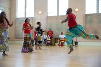 Bandan Koro African Drum and Dance Ensemble rehearses <i>Guinea Fare: Her Story, Her Ipseity</i>, which premieres  March 22 at the AT&T Performing Arts Center.(Allison Slomowitz/Special Contributor)