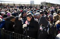 "Thousands pray during a speech by the Rev. Franklin Graham, the son of Rev. Bill Graham, as part of his ""Decision America Tour"" in Atlanta, Feb. 10, 2016. Evangelicals like Graham are locked in a tight embrace with the president and the Republican Party, but some are now asking if the movement has gone astray. (KEVIN D. LILES/NYT)"