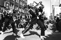 1993: The Grambling State University Marching Band marched in the 1993 downtown St. Patrick's Day parade. The band stopped at the intersection of Pacific and Market to entertain the large crowd gathered there.(Carolyn A. Herter/The Dallas Morning News)