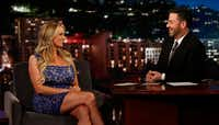 This image released by ABC shows adult film star Stormy Daniels with host Jimmy Kimmel during an appearance on <i>Jimmy Kimmel Live! </i>on&nbsp;Jan. 30, 2018.(Randy Holmes/ABC)