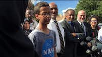 Irving resident Ahmed Mohamed, 14, talked to the media in September 2016 about the homemade clock he built and his acceptance of an invitation to visit the White House.(Ron Baselice/Staff Photographer)