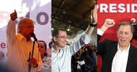 Presidential candidates Andres Manuel Lopez Obrador of the Morena party, Ricardo Anaya of the National Action Party and a right-left coalition, and Jose Antonio Meade of the Party of the Institutional Revolution.
