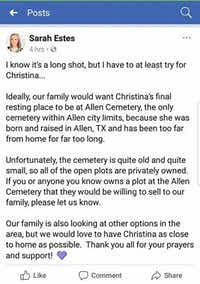 This is a screenshot of a post Sarah Estes, sister of Christina Morris, posted on Wednesday on Facebook asking for help finding a burial plot for Morris.