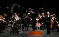 """Hornist Molly Norcross and tenor Paul Appleby performed Britten's """"Serenade for tenor, horn and strings"""" with guest conductor Ward Stare and the Fort Worth Symphony Orchestra at Bass Performance Hall in Fort Worth on Friday March 16, 2018.(Lawrence Jenkins/Special Contributor)"""