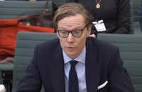 A video grab from footage broadcast by the UK Parliament's Parliamentary Recording Unit shows Chief Executive, Cambridge Analytica, Alexander Nix, the chief executive of Cambridge Analytica, giving evidence to the Digital, Culture, Media and Sport Committee of members of parliament on the subject of fake news at the Houses of Parliament in February in London.(AFP/Getty Images)