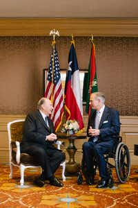 "<p><span style=""font-size: 1em; background-color: transparent;"">Gov. Greg Abbott meets with the Aga Khan, spiritual leader to Ismaili Muslims, during an official visit celebrating his 60th year as imam.</span></p>(Farhez Rayani/Submitted photo)"