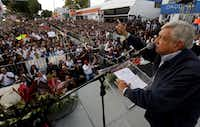 """<p></p><p></p><p>Mexican presidential candidate&nbsp;<span style=""""font-size: 1em; background-color: transparent;"""">Andrés&nbsp;</span><span style=""""font-size: 1em; background-color: transparent;"""">Manuel&nbsp;</span><span style=""""font-size: 1em; background-color: transparent;"""">López&nbsp;</span><span style=""""font-size: 1em; background-color: transparent;"""">Obrador delivers a speech during a&nbsp;</span><span style=""""font-size: 1em; background-color: transparent;"""">Juntos Haremos Historia (Together We Will Make History) coalition&nbsp;</span><span style=""""font-size: 1em; background-color: transparent;"""">rally on Feb. 11 in Guadalajara.</span></p><p></p><p></p><p></p><p></p>(Ulises Ruiz/AFP/Getty Images)"""