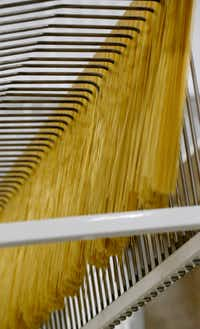 <p>Cooked pasta on an assembly line at La Moderna in Cleburne.</p>(Nathan Hunsinger/Staff Photographer)