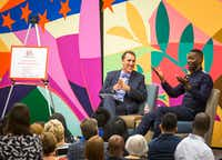 Playwright Tarell Alvin McCraney (right) talks with<i> Dallas Morning News</i> Editor Mike Wilson during a 2017 Dallas Book Festival conversation at the J. Erik Jonsson Central Library.(Smiley N. Pool/Staff Photographer)