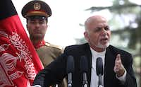 Afghan President Mohammad Ashraf Ghani speaks during a news conference in Kabul, Afghanistan, on July 11, 2017. As unemployment worsens in strife-torn Afghanistan, the Islamic State is attempting to capitalize. (Xinhua/TNS)