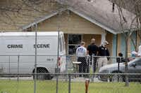 Law enforcement officials continue their investigation at the home of Mark Anthony Conditt in Pflugerville. (Photo by Scott Olson/Getty Images)