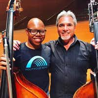 Draylen Mason, the 17-year-old killed in the second bombing in Austin, applied to attend University of North Texas in the double bass violin program. He is pictured with Oscar Meza, assistant principal bassist of the Los Angeles Philharmonic.(Courtesy photo)