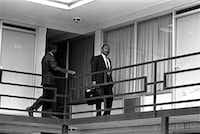April 3, 1968, the Rev. Martin Luther King Jr. walked across the balcony of the Lorraine Motel in Memphis.  The civil rights leader was standing on the balcony of the Lorraine Motel when he was killed by a rifle bullet on April 4, 1968. James Earl Ray pleaded guilty to the killing and was sentenced to 99 years in prison. He died in prison in 1998.(The Associated Press)
