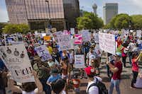 Demonstrators fill Young Street near the Kay Bailey Hutchinson Convention Center.(Smiley N. Pool/Staff Photographer)