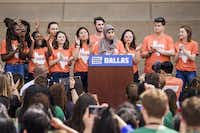 """Waed Alhayek, 19, a student at UT-Arlington, addresses the rally at City Hall. """"This is a moment. ... I believe in the second amendment, but I also believe in the right to live,"""" she said.(Smiley N. Pool/Staff Photographer)"""