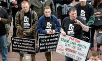 Pro-gun marchers rally for fortified schools and more armed teachers Saturday at the Utah State Capitol.(Rick Bowmer/The Associated Press)