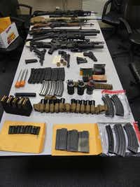 Police reported finding a number of weapons and accessories.(Tewksbury Police Department)