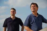 Storm-chasers Carl Young, left, and Tim Samaras.(AP/Discovery Channel/Marion Cunningham/(DMN file))