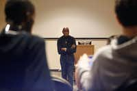 The Rev. Peter Johnson, civil rights activist, speaks on his experiences to a class at UNT Dallas, passing on his knowledge to a new generation of African-American and Latino students, who make up the majority of the student population at UNT Dallas. (David Woo/Staff Photographer)