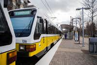 A DART train pulls into the Baylor University Medical Center Station on Feb. 15, 2018. DART passed a 20 percent increase in most fares, which is the agency's first in six years.(Ashley Landis/Staff Photographer)