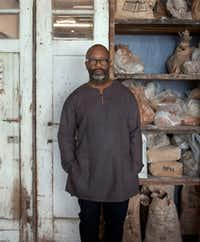 Artist Theaster Gates photographed at his studio in Chicago for <i>The Dallas Morning News.</i> (Nan Coulter /Special Contributor)