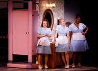 &nbsp;Lenne Klingaman (left) plays Dawn, Desi Oakley plays Jenna and Charity Angel Dawson plays Becky, three friends who are waitresses, waiting to find out if Jenna is pregnant, in the national tour of <i>Waitress</i>, presented by Dallas Summer Musicals at Fair Park Music Hall.(Rose Baca/Staff Photographer)