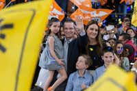Presidential candidate Ricardo Anaya of the Forward for Mexico Coalition, which unites the National Action Party and the Democratic Revolution Party, appeared with his family before supporters  in Mexico City on March 11.(Christian Palma/The Associated Press)