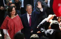 Jose Antonio Meade of the Institutional Revolutionary Party and his wife, Juana Cuevas, acknowledged supporters in Mexico City this month after he formalized his candidacy for president.(Marco Ugarte/The Associated Press)
