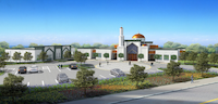 This rendering shows what the Bait-ul-Ikram Mosque in Allen will look like after the expansion is complete. (Ahmadiyya Muslim Community, Dallas chapter)