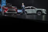 Jack Hollis, group vice president and general manager of the Toyota Division at Toyota Motor North America, speaks about the 2019 Toyota RAV4 after its unveiling at the New York International Auto Show.(Drew Angerer/Getty Images)