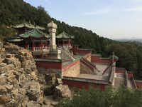 A mountainside view of one of the buildings at the Summer Palace in Beijing in September 2017.(Thomas Huang/The Dallas Morning News)