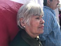 Leandra Martinez stood quietly listening to presidential candidate Andres Manuel Lopez Obrador in Ciudad Juarez.(Alfredo Corchado/The Dallas Morning News)