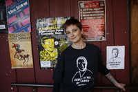 Stephanie Johnson wears her #SaveJesus shirt in the Deep Ellum neighborhood of Dallas in 2014.  Johnson was a co-organizer of a group supporting Jesus Martinez, who was fired as a Dallas police officer for using excessive force, and then reinstated. (Andy Jacobsohn/Staff Photographer)