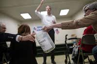 U.S. Rep. Beto O'Rourke, D-El Paso, speaks while a donations jar is passed around the Brandon Community Center in Lufkin on Feb. 9, 2018. O'Rourke is running to unseat Sen. Ted Cruz, R-Texas, in the 2018 midterm elections.(Tamir Kalifa/The New York Times)