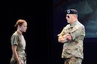 "<p><span style=""font-size: 1em; background-color: transparent;"">Staff Sgt. Rachel Farber (left) and Staff Sgt. Daniel Erbe perform the roles of Female Soldier and Jumper as The Falling and the Rising is workshopped in summer 2017 at the Seagle Music Colony, an Upstate New York training program for young singers. ""The Falling and the Rising"" will have its world premiere this weekend at Texas Christian University. Farber and Erbe are members of the U.S. Army Soldier's Chorus and will be in the opening night performance of the show at TCU.</span></p>(Seagle Music Colony)"