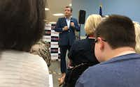 U.S. Sen. Ted Cruz speaks to about 100 supporters at Texas Mailhouse, a business in Northeast Austin late Tuesday. (Robert T. Garrett/Staff)