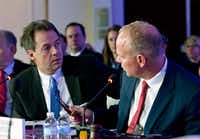 Gov. Steve Bullock speaks with Gov. Matt Mead of Wyoming during the National Governor Association 2018 winter meeting, on Saturday, Feb. 24, 2018, in Washington. (Jose Luis Magana/AP)