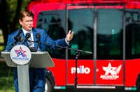Arlington Mayor Jeff Williams spoke last August as Arlington launched Milo, a free shuttle service using autonomous vehicles on select streets in the city's entertainment district.(Ashley Landis/Staff Photographer)